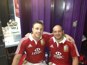 The lovely Tommy B and Rory Best post match