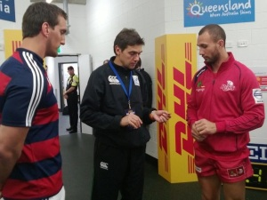 The coin toss before the match with Warberton & Quade Cooper