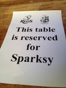 The table saver in the Royal Oak for the Reds match