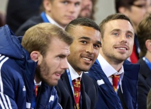 Tom Croft, Simon Zebo - replacement to Tommy B who he is sat next to (he had to have a plate put into his broken hand)