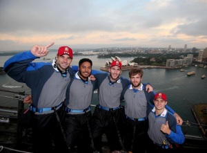 Mike Phillips, Manu, Croft, Parling & Youngs on top of the Harbour Bridge - I want to do this when I am there!