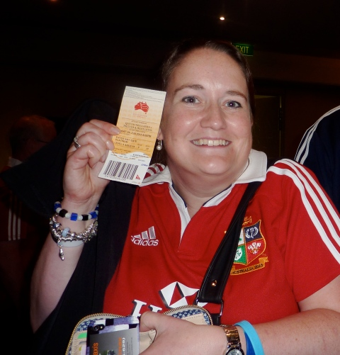 Just a little excited to actually have the ticket for the match in my hand!! (with thanks to Lesley for the photo!)