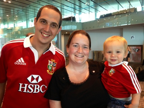 With Tim & Jensen at Singapore Airport (fellow Bath fan living out there & on same plane out of Oz as me)