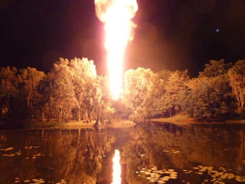 A lit arrow was sent across the lake which set this flame alight