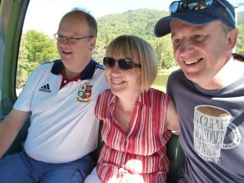 Ed, Kay & Steve in our 'pod' on the way up & over the rainforest on the Skyrail