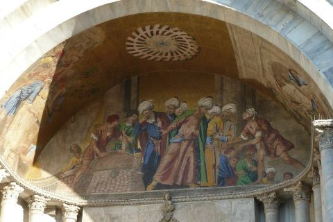 A close up of the mosaics on the exterior of the basilica
